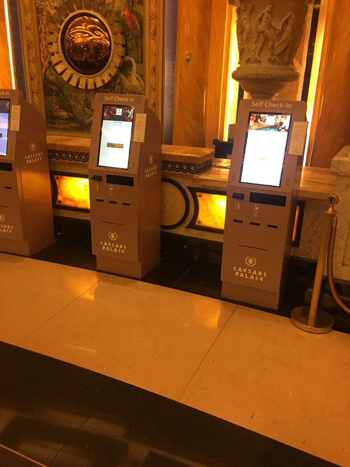 Caesars Palace Julius Tower Hotel Room Review Check In Kiosk2