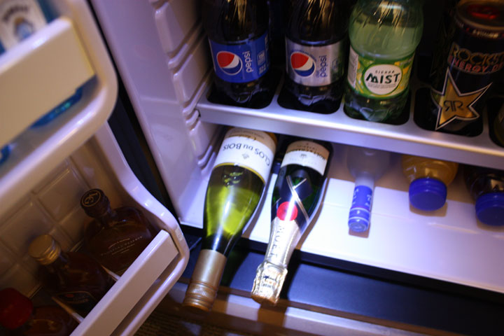 Caesars Palace Julius Tower Hotel Room Review Minibar Wine