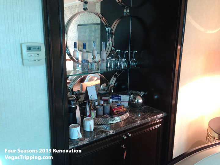Four Seasons Las Vegas Suite Review Renovations 2013 Minibar Cabinets