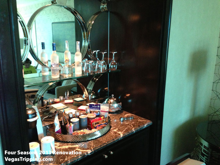 Four Seasons Las Vegas Suite Review Renovations 2013 Minibar Display