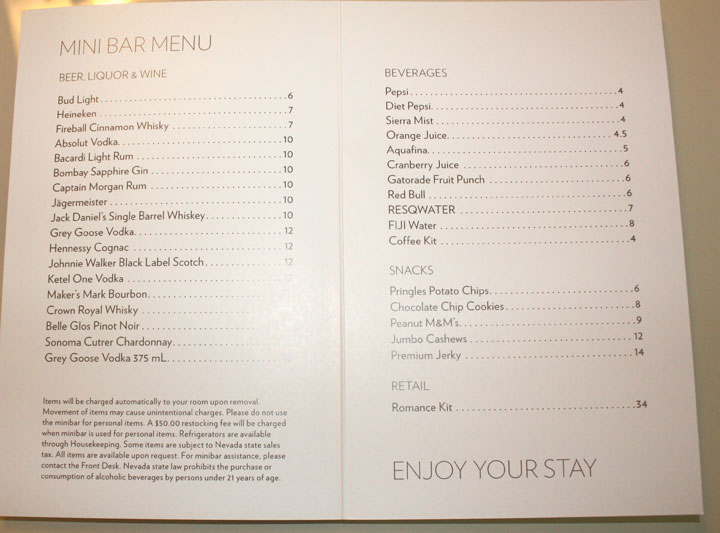 Mandalay Bay 2015 Minibar Pricelist