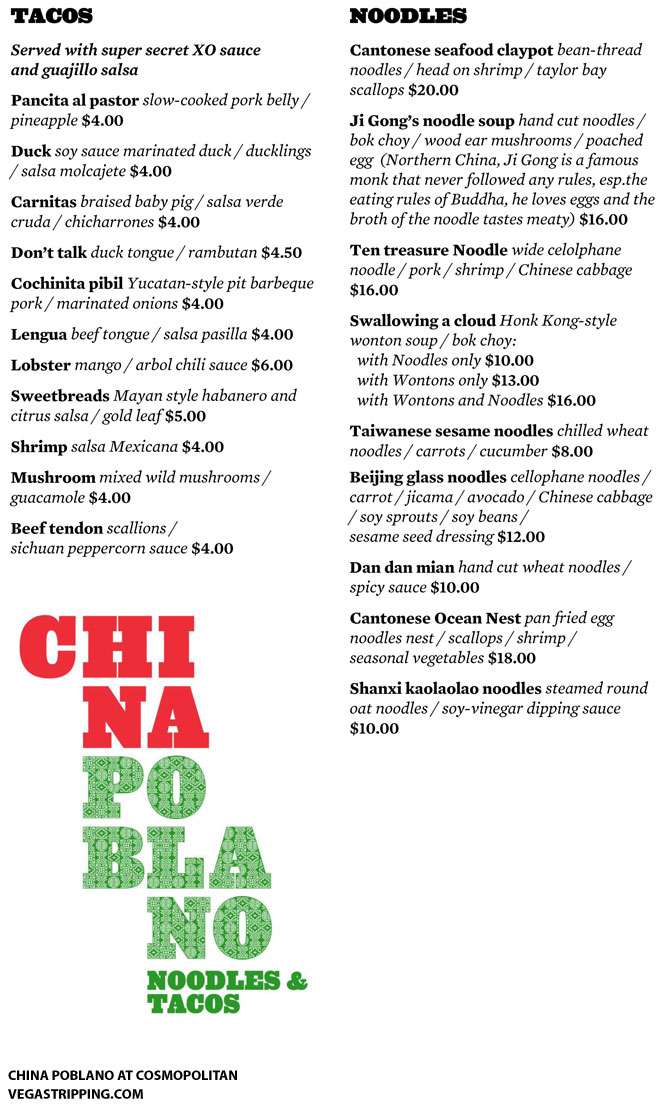 China Poblano Cosmopolitan Menu