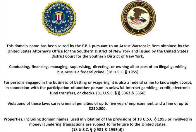 DOJ Domain Seizure Notice