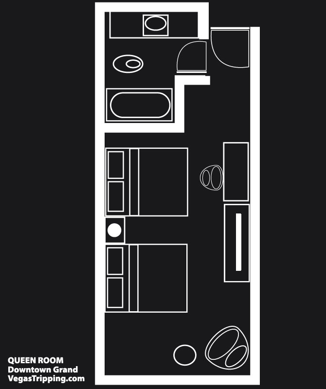 Downtown Grand Queen Room Floor Plan