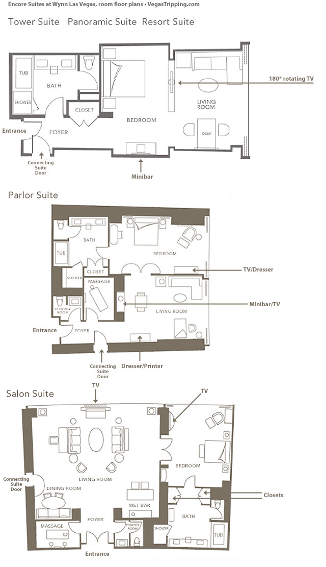 Encore Suites Floor Plans VegasTrippingcom - Las vegas floor plans