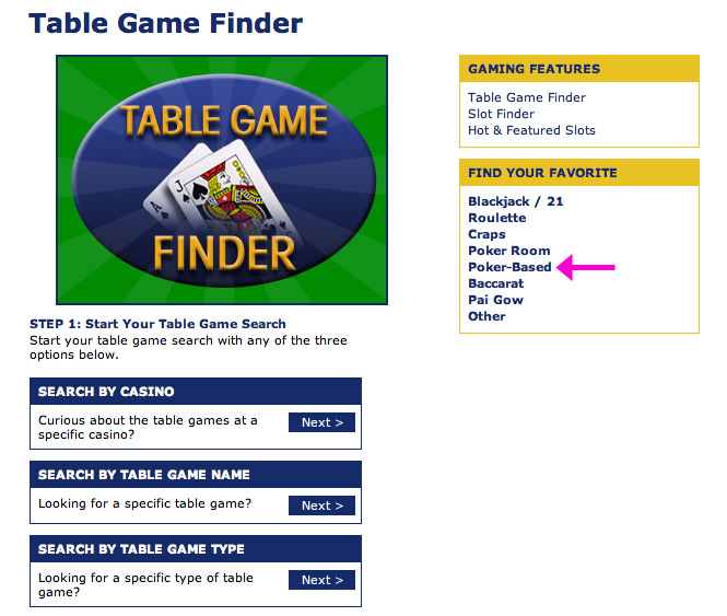 Harrah's Table Game Finder