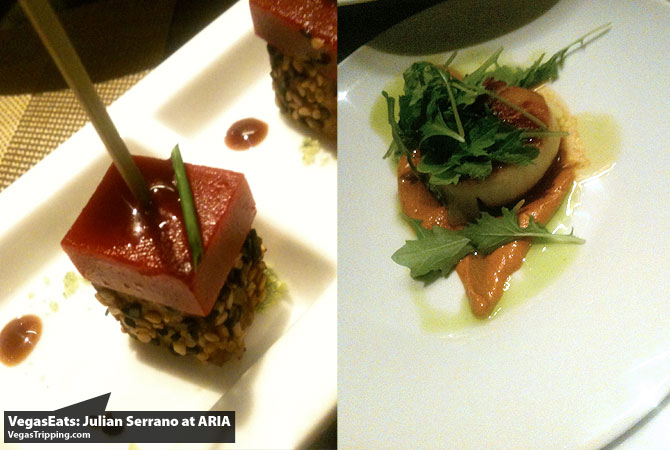 Julian Serrano Tapas at ARIA Las Vegas Restaurant Review Tuna Raspberry Molecular