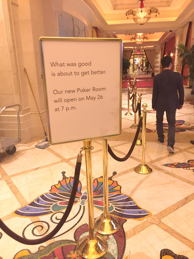New Wynn Poker Room Sign