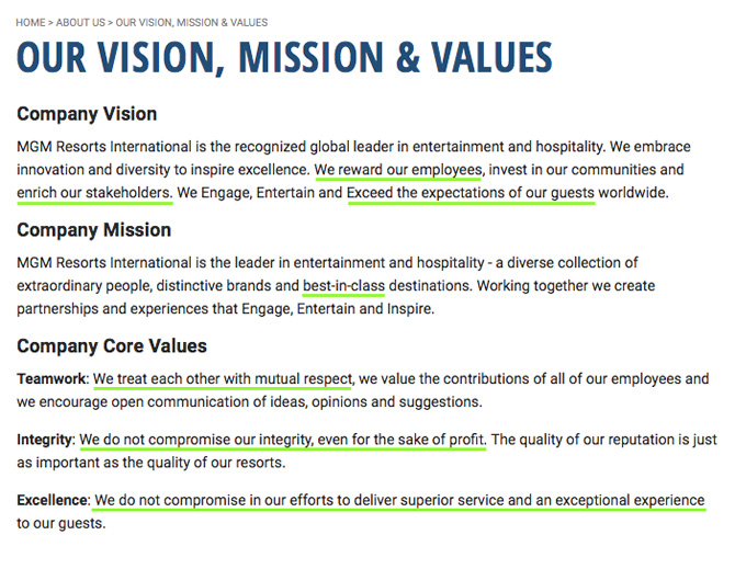 MGM Resorts Vision Mission Values