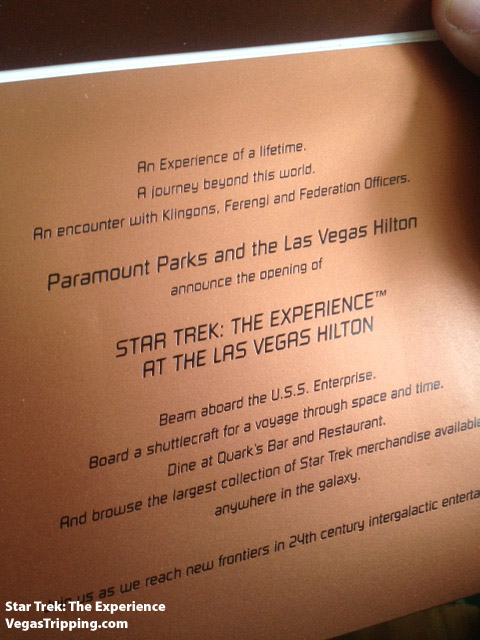 Star Trek The Experience Grand Opening Invitation