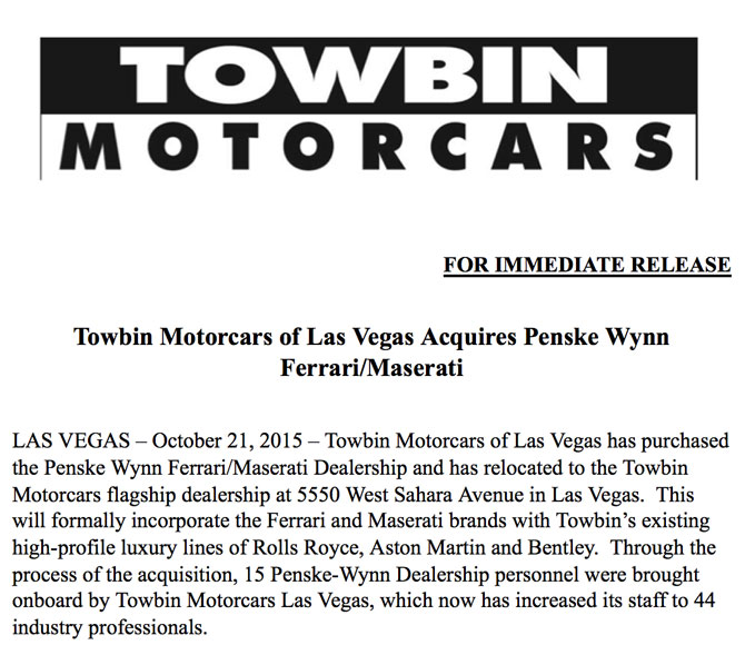 Wynn Ferrari Towbin Press Release