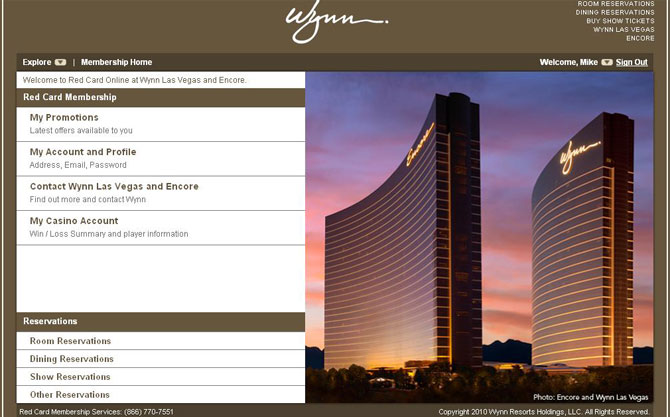 Wynn Red Card Online