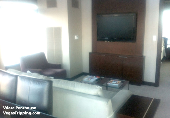 Vdara Penthouse Review Livingroom Tv