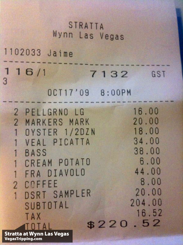 Vegas Eats: Stratta Wynn Las Vegas The Bill
